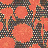Colorful warm orange seamless floral aster-iris pattern with dots Stock Photo