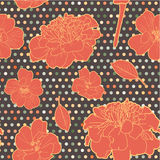 Colorful warm orange seamless floral marigold pattern with dots Royalty Free Stock Photo