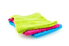 Colorful washclothes. Isolated on white background royalty free stock photo