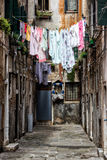 Colorful Washings in Venice, Italy. Colorful washings hanging to dry in Venice, Italy Stock Images