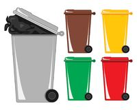 Colorful waste bins with bin bag in gray refuse can on a white background. An illustration of a gray refuse bin with a bag of rubbish showing and various Stock Photos