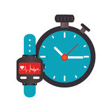 Colorful watch with screen Heartbeat monitoring and Stopwatch Royalty Free Stock Photo