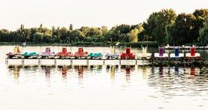 Colorful water bikes on the Balaton lake Royalty Free Stock Photos