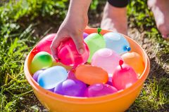Colorful Water Bombs In Summer Royalty Free Stock Photos