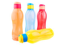 Colorful water bottles Stock Images