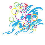 Colorful water bubbles. And abstract water wave, Olympic rings Stock Photo