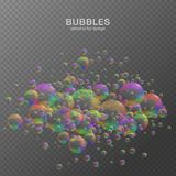 Colorful water bubbles on transparent background with reflection. Set. Colors of rainbow. Vector illustration stock images