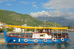 Colorful water bus in port of Tivat Royalty Free Stock Photography