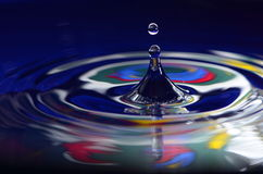 Colorful Water And Drop. Colorful water red,blue,yellow,green and black water cone and water drop in micro Stock Image