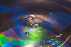 Colorful Water drop. Close up Stock Photo