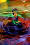 Colorful water drops macro Royalty Free Stock Images