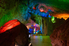 The colorful water-eroded cave Royalty Free Stock Photos
