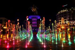 a colorful water feature On a huge place stock photos