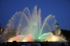 Colorful water fountain. A large colorful water fountain outside in Barcelona, Spain Royalty Free Stock Image