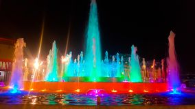 Colorful water fountain on the night royalty free stock photos
