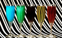 Colorful water glasses royalty free stock images