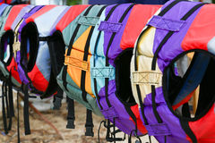 Colorful water life vest. Hang Colorful water life vest stock images