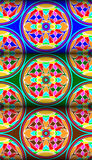 Colorful water lily circle pattern Royalty Free Stock Images