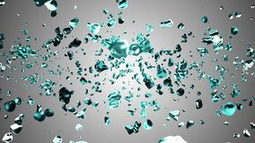 Blue liquid metal water drops random diffused in space digital animation background new quality natural motion graphics vector illustration