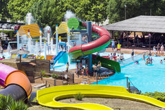 Colorful water park slides Royalty Free Stock Images