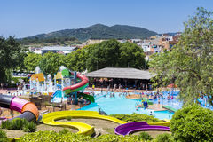 Colorful water park slides. Colorful slide in Marineland water park,Spain Stock Photos
