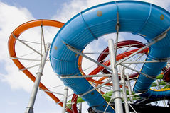 Colorful water park tubes stock photo