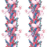 Colorful water plants and sea weed pattern with cute axolotl royalty free illustration