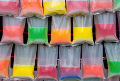 colorful water in plastic bag for background Stock Photos