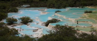 Colorful water pools in Huanglong Scenic Area, China royalty free stock photo