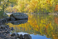 Colorful water reflection on the Pigeon River in fall. Stock Photos