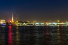 Colorful water reflections in St. Petersburg, Russia royalty free stock photo