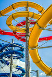 Colorful water slides in aquapark Royalty Free Stock Images