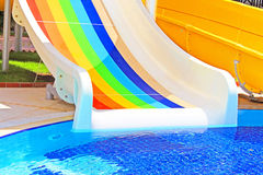 Colorful water slides at the water park Royalty Free Stock Photo