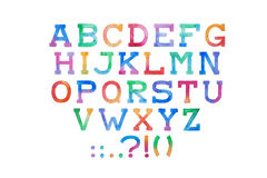 Colorful watercolor aquarelle font type handwritten hand draw abc alphabet letters Stock Photos