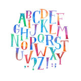 Colorful watercolor aquarelle font type handwritten hand draw abc alphabet letters.  Stock Image