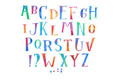 Colorful watercolor aquarelle font type handwritten hand draw abc alphabet letters Royalty Free Stock Photos