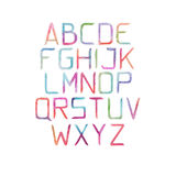 Colorful watercolor aquarelle font type handwritten hand draw abc alphabet letters Stock Photography