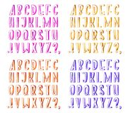 Colorful watercolor aquarelle font type handwritten hand draw abc alphabet letters.  Stock Illustration
