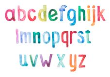 Colorful watercolor aquarelle font type Stock Image