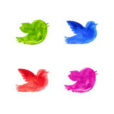 Colorful watercolor birds silhouettes. Singing flying birds watercolor sign, bright colors royalty free illustration