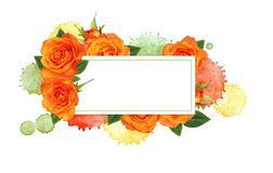 Colorful watercolor blots and a card with orange rose flowers stock images