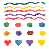 Colorful watercolor brush strokes, circles (stains), and hearts. Stock Image