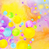Colorful watercolor bubbles on rainbow background. Royalty Free Stock Photography