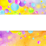 Colorful watercolor bubbles on rainbow background. Royalty Free Stock Image