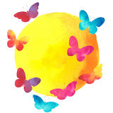 Colorful watercolor butterfly with a round label Stock Photo