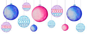 Colorful watercolor Christmas tree decorations Royalty Free Stock Image