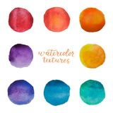Colorful watercolor circles set. Watercolour stains on white background. Rainbow polka dots elements. Vector illustration.  royalty free illustration