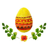Colorful watercolor Easter egg, green leaves and little orange flower Royalty Free Stock Image