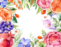 Colorful watercolor floral bouquet-frame with roses, leaves, pomegranate, orchids, calla, grapes. Stock Image