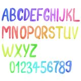 Colorful watercolor font, aquarelle. Vector Royalty Free Stock Photography